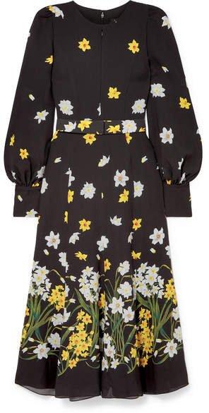 Belted Floral-print Silk Midi Dress - Black