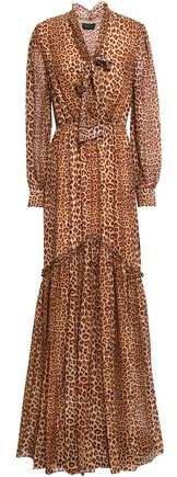 Verushka Pussy-bow Leopard-print Silk Crepe De Chine Maxi Dress