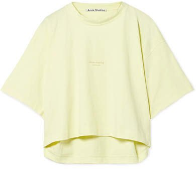 Cylea Cropped Printed Cotton T-shirt - Pastel yellow