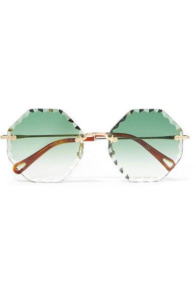 Chloé | Rosie octagon-frame gold-tone sunglasses | NET-A-PORTER.COM