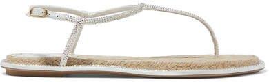 Diana Crystal-embellished Metallic Leather Sandals - White