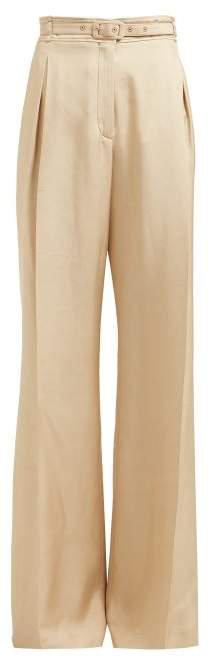 Dora Belted Silk Shantung Trousers - Womens - Beige