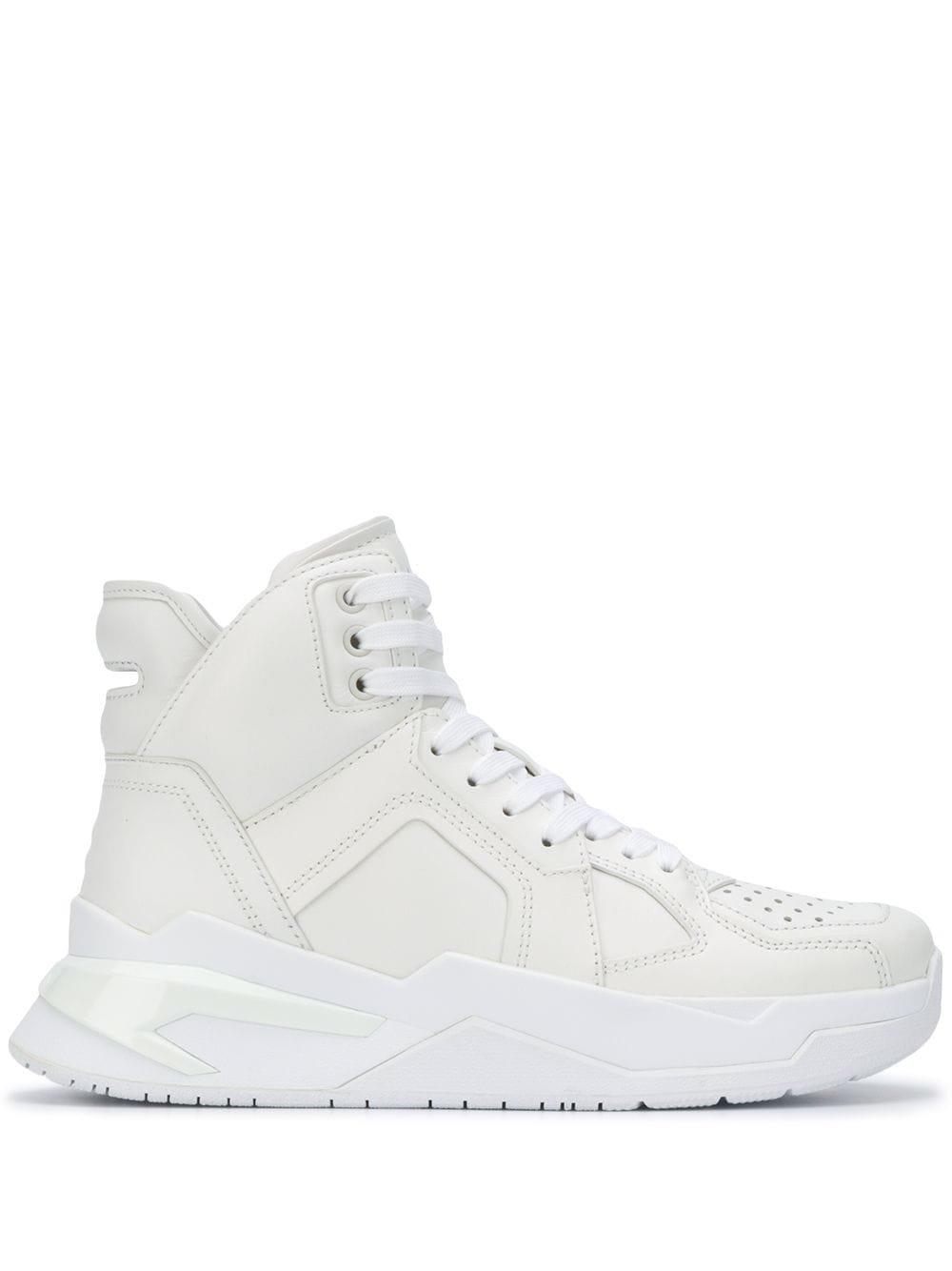 White Balmain B-Ball High Top Sneakers | Farfetch.com