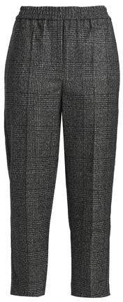 Cropped Checked Bead-embellished Wool Straight-leg Pants