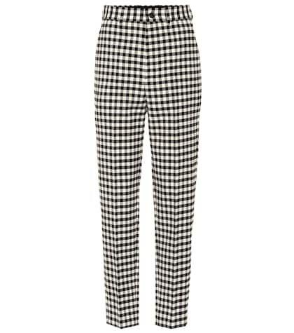 High-waisted checked pants