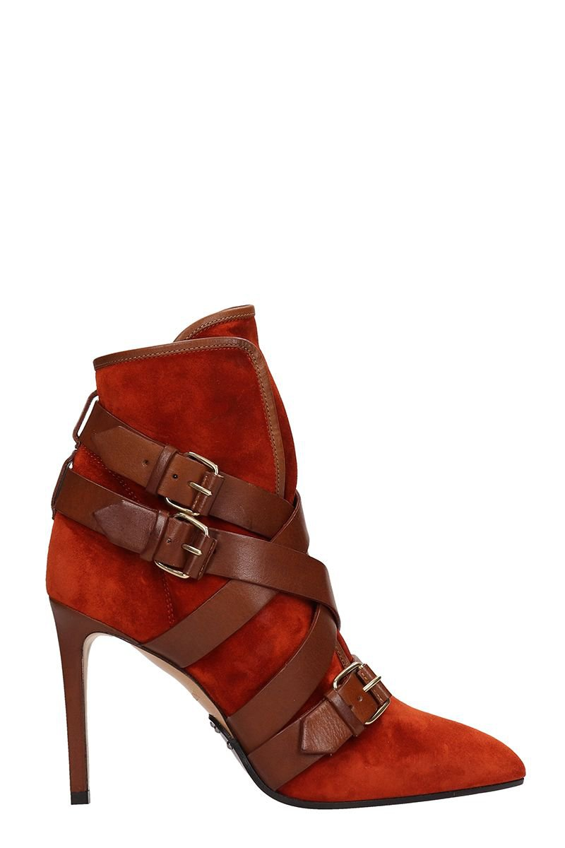 Balmain Rust Leather And Suede Ankle Boots
