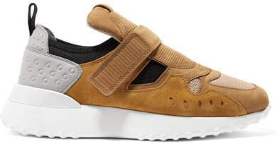 Suede, Leather And Mesh Sneakers - Tan
