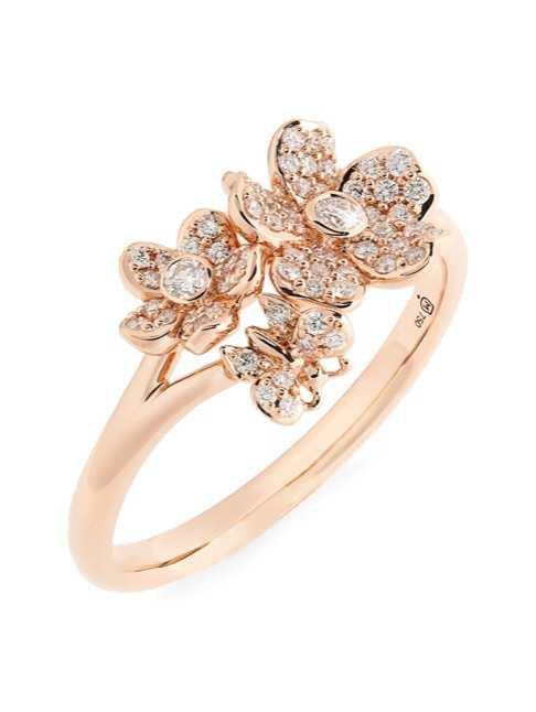 rose gold floral ring