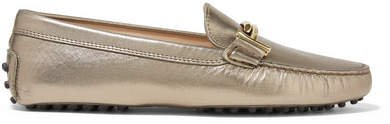 Gommino Embellished Metallic Leather Loafers - Bronze