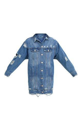 Mid Wash Longline Distressed Denim Jacket   PrettyLittleThing