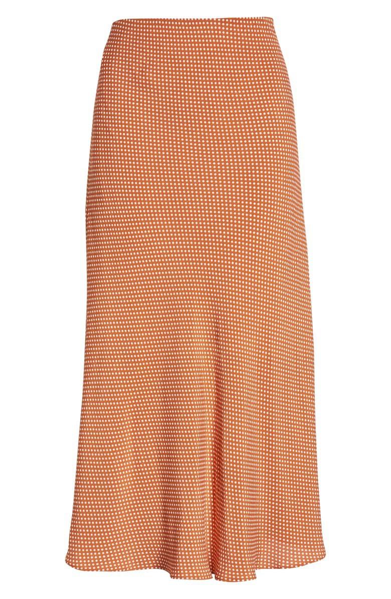 Leith Bias Cut Midi Skirt orange