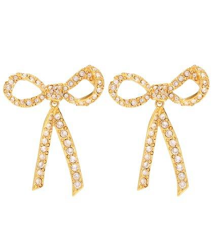 Crystal-embellished bow earrings