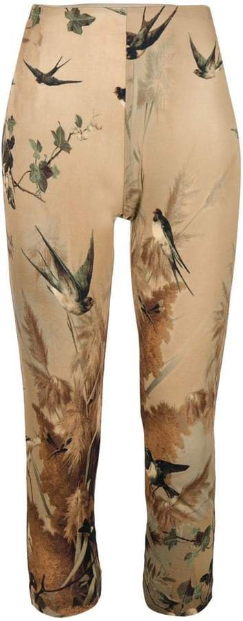 Pre-Owned nature print cropped leggings