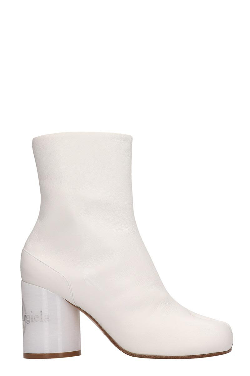 Maison Margiela Tabi White Leather Ankle Boots