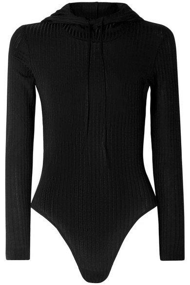 Fleur du Mal | Hooded ribbed-knit bodysuit | NET-A-PORTER.COM