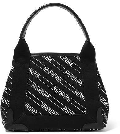 Cabas Xs Aj Leather-trimmed Printed Canvas Tote - Black