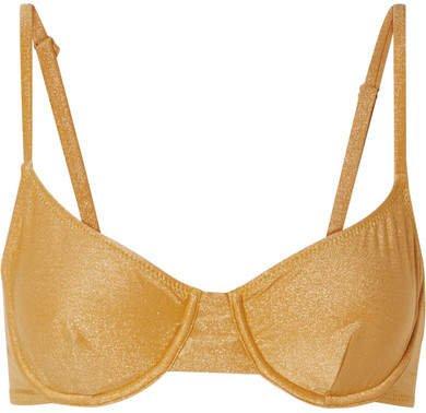 The Eva Metallic Underwired Bikini Top - Gold