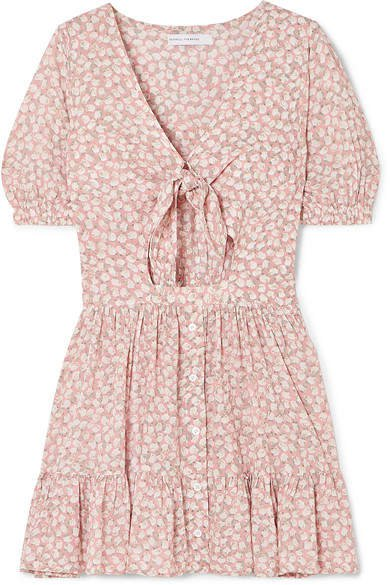 Marigot Tie-front Cutout Floral-print Crepe Mini Dress - Blush