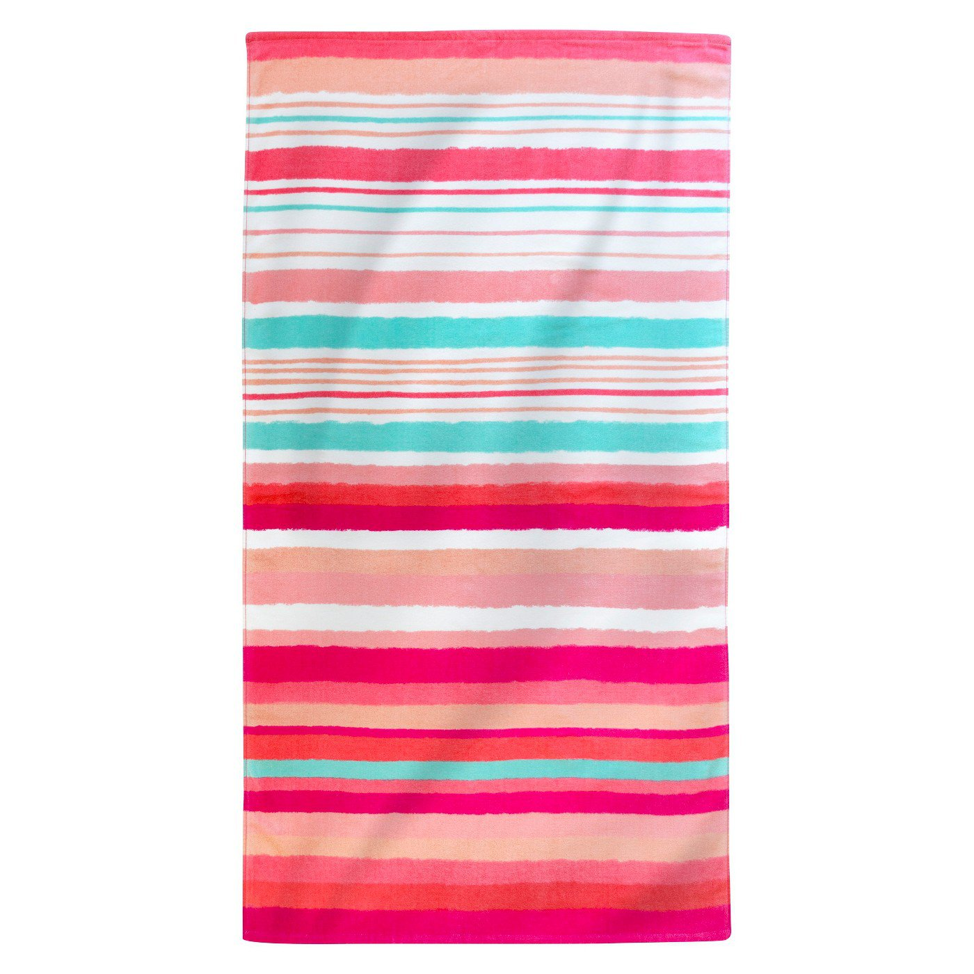 Printed Hand Drawn Stripes Beach Towel Coral : Target