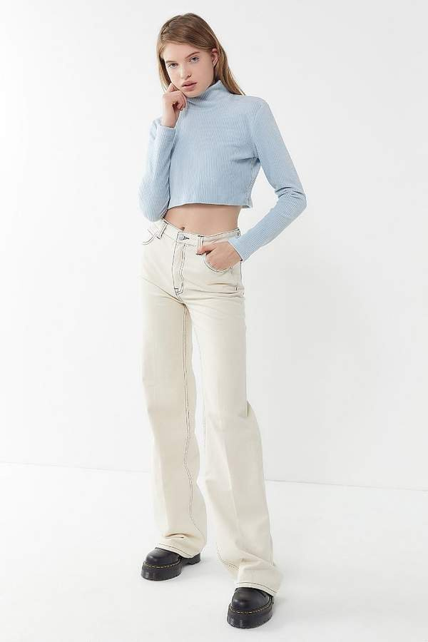 Stovepipe High-Rise Wide Leg Jean – Ivory