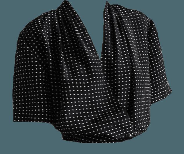 black polka dot shirt