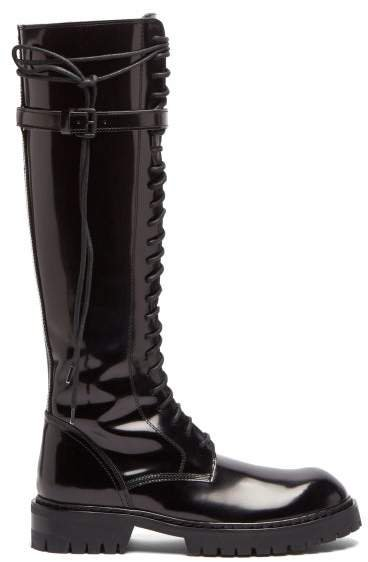 Knee High Lace Up Patent Leather Boots - Womens - Black