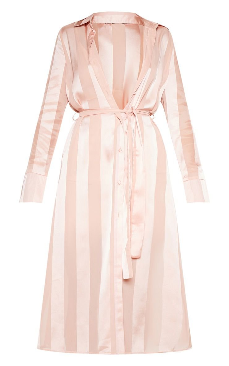 Champagne Satin Stripe Midi Shirt Dress | PrettyLittleThing USA