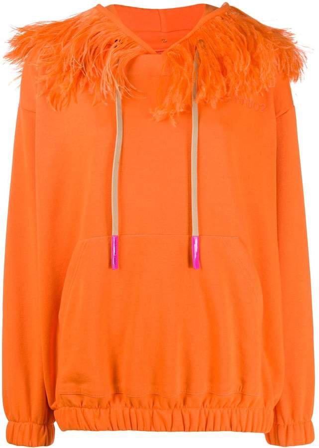 drawstring feather trim hoodie
