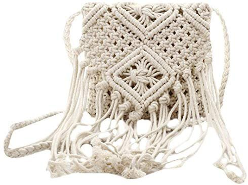 Mily Fashion Women Girls Fringed Crochet Shoulder Bag Hollow Out Woven Tassel Bag Bohemian Beach Cross Body Bag: Handbags: Amazon.com