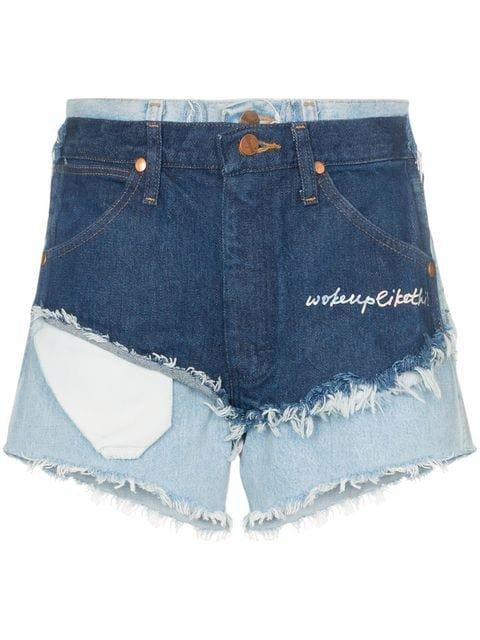 Natasha Zinko High Waist Double Layered Denim Shorts - Farfetch