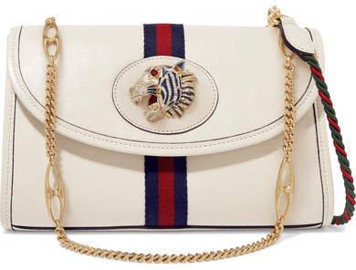 Rajah Small Embellished Leather Shoulder Bag - White