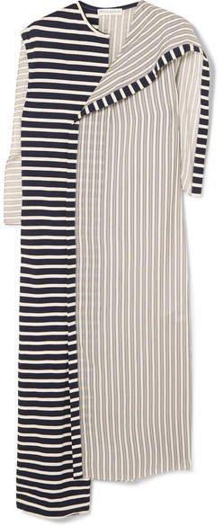 Asymmetric Striped Jersey And Cotton Dress - Navy