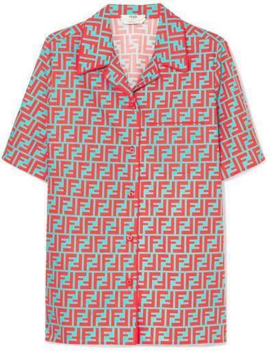 Printed Cotton-poplin Shirt - Coral