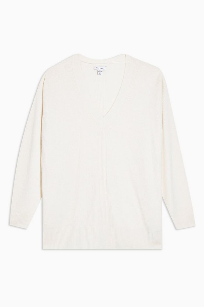 Ivory Ribbed Longline Knitted Jumper With Cashmere | Topshop