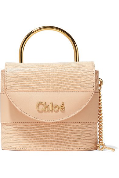 Chloé | Aby Lock small lizard-effect leather shoulder bag | NET-A-PORTER.COM