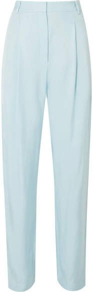 Satin-twill Tapered Pants - Sky blue