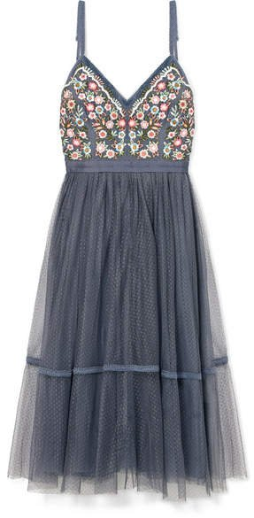 Whimsical Embroidered Tulle Dress - Blue