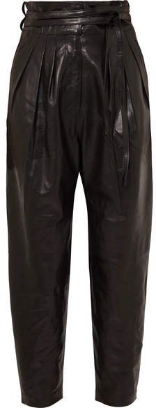 Belted Leather Tapered Pants - Black