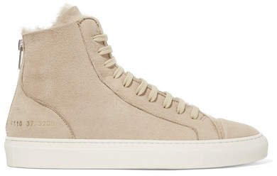 Tournament Shearling High-top Sneakers - Beige