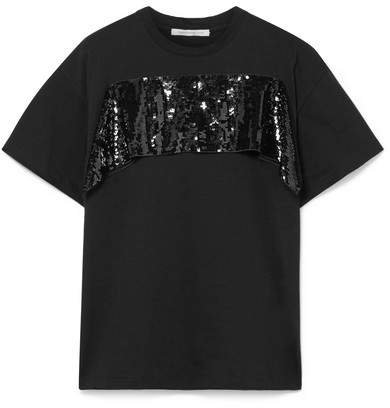Sequined Tulle-trimmed Cotton-jersey T-shirt - Black