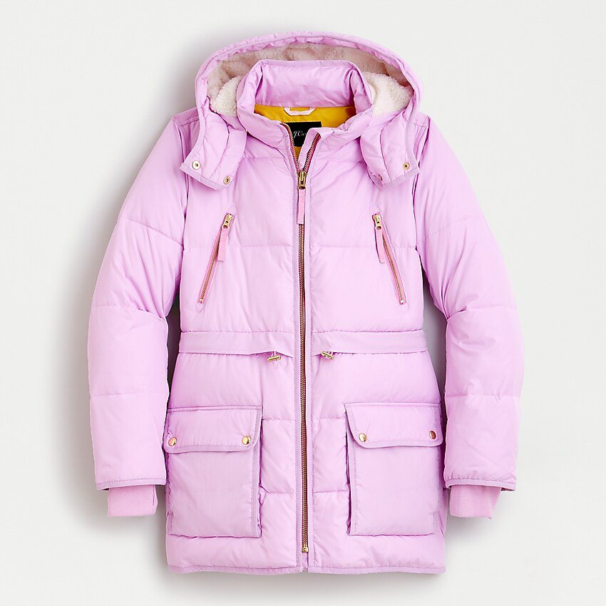 J.Crew: Chateau Puffer Jacket With Primaloft® lilac