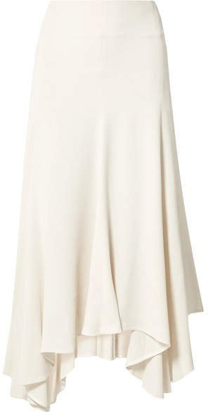 Asymmetric Pleated Crepe Midi Skirt - Cream