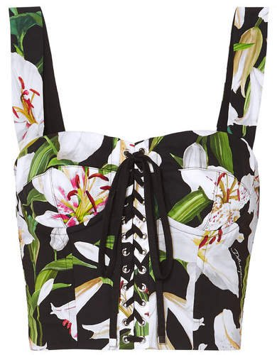 Cropped Floral-print Cotton-blend Poplin And Mesh Bustier Top - Black
