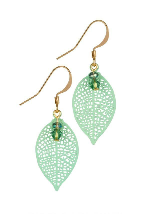 Green Small Filigree Leaf Earrings - Melanie Hand Design Jewellery