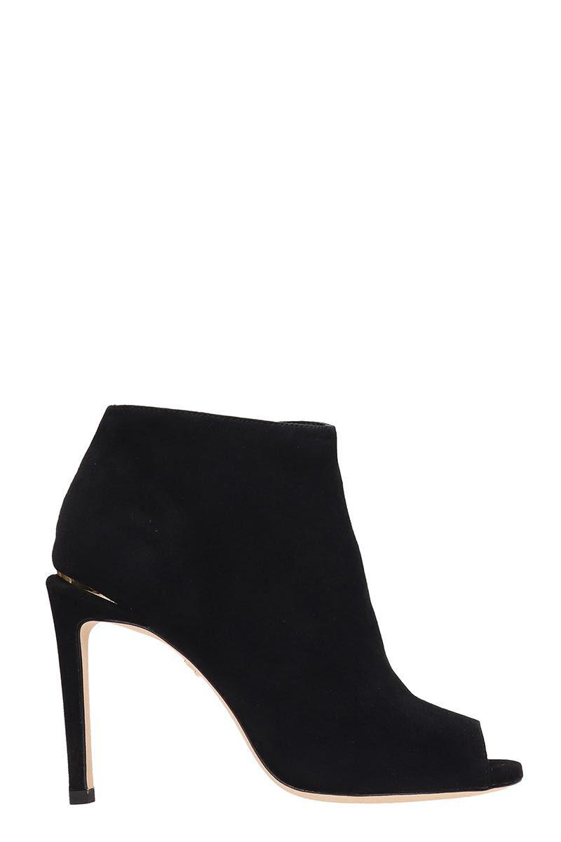 Lola Cruz Open Toe Black Suede Ankle Boots