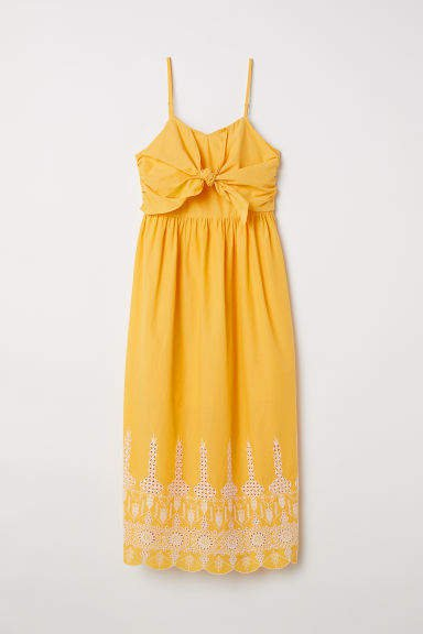 Cotton Dress with Tie-detail - Yellow