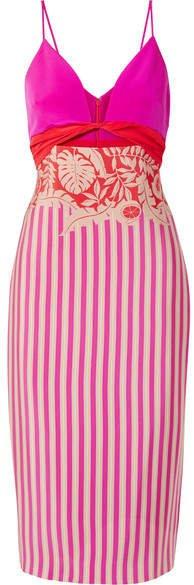 Cushnie Cutout Printed Washed-silk Midi Dress - Pink