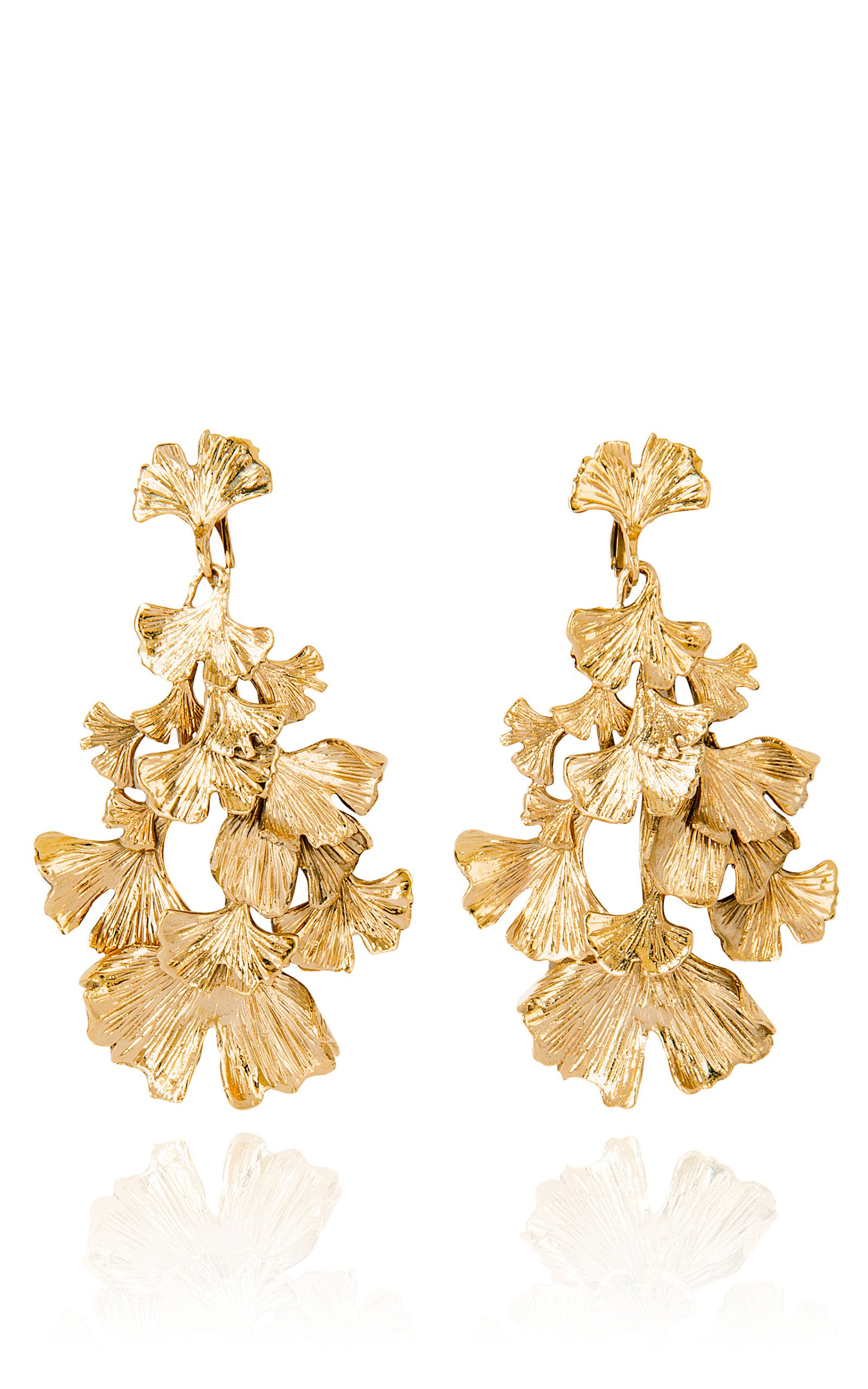Aurélie Bidermann | Ginkgo gold-pleated earrings