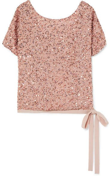 Grosgrain-trimmed Sequined Chiffon Top - Blush