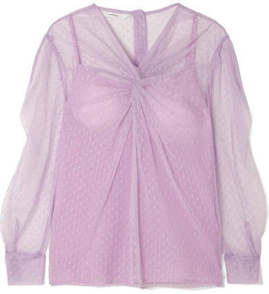 Pushbutton - Ruched Point D'esprit Cotton And Silk-blend Tulle Blouse - Pink